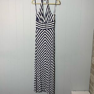 Banana Republic Blue/White Halter Maxi Dress